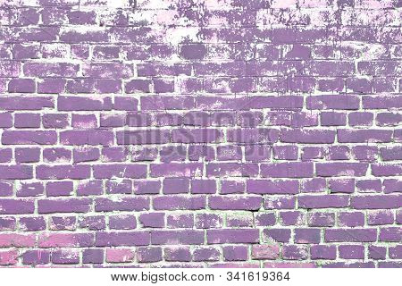 Color Painted Brickwork Background Old Heterogeneous Texture Close-up