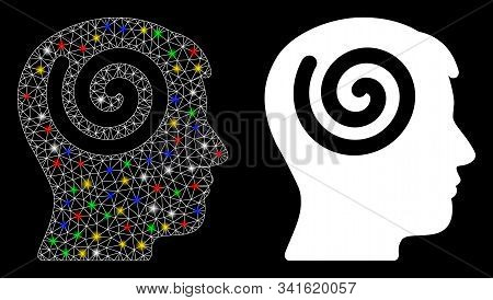 Bright Mesh Hypnosis Icon With Glare Effect. Abstract Illuminated Model Of Hypnosis. Shiny Wire Fram