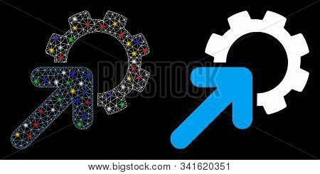Glowing Mesh Integration Cog Icon With Glow Effect. Abstract Illuminated Model Of Integration Cog. S