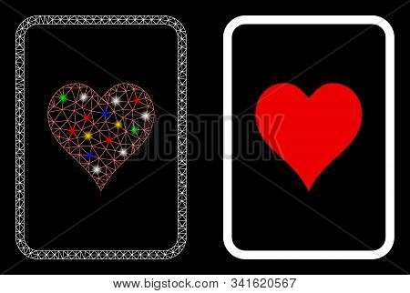 Flare Mesh Hearts Gambling Card Icon With Glow Effect. Abstract Illuminated Model Of Hearts Gambling