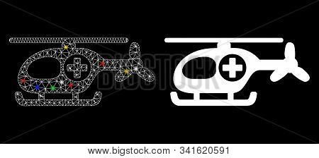 Glossy Mesh Helicopter Icon With Sparkle Effect. Abstract Illuminated Model Of Helicopter. Shiny Wir