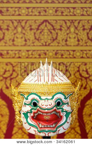 Thai style white monkey mask, Hanuman, Ramayana Story