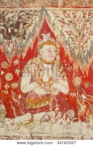 Thai giant mural painting, Wat Yai Suwannaram, Thailand