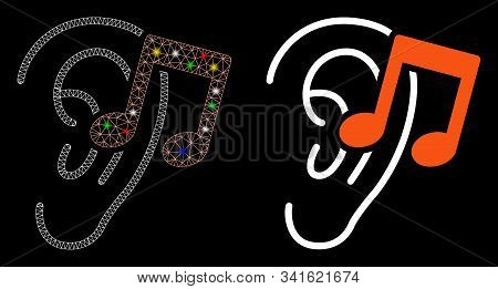 Glowing Mesh Listen Music Icon With Sparkle Effect. Abstract Illuminated Model Of Listen Music. Shin