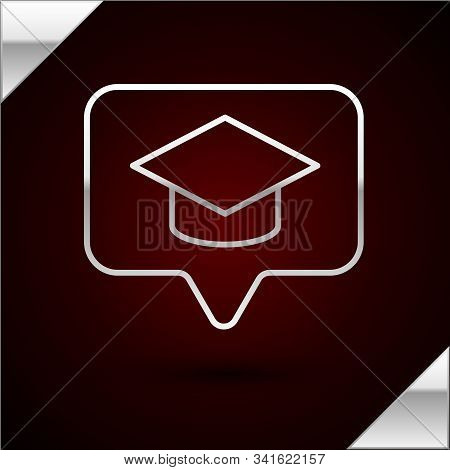 Silver Line Graduation Cap In Speech Bubble Icon Isolated On Dark Red Background. Graduation Hat Wit