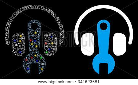Glowing Mesh Headphones Tuning Wrench Icon With Sparkle Effect. Abstract Illuminated Model Of Headph