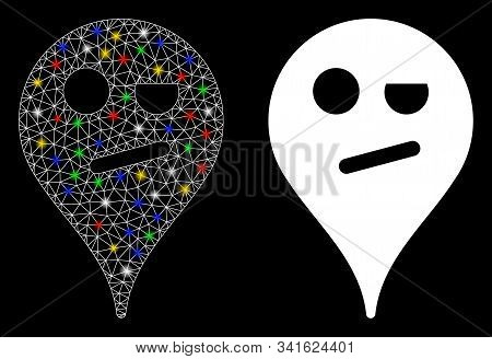 Glossy Mesh Infidelity Smiley Map Marker Icon With Sparkle Effect. Abstract Illuminated Model Of Inf