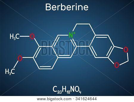 Berberine C20h18no4, Herbal Alkaloid Molecule. Structural Chemical Formula On The Dark Blue Backgrou