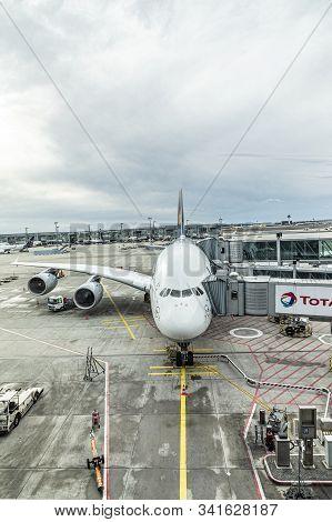 Frankfurt, Germany - March 4, 2019: Lufthansa Airbus A380 Is Ready For Bording At Frankfurt Internat