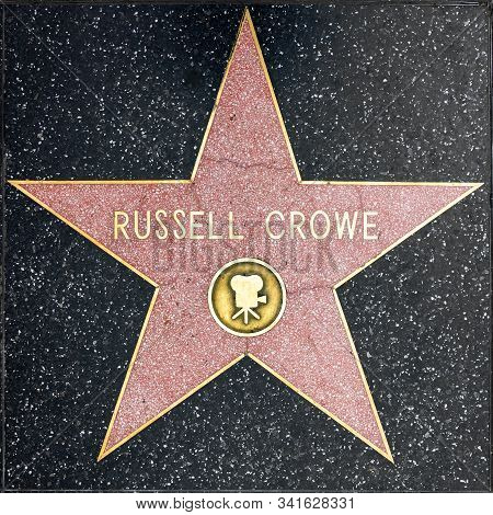 Los Angeles, Usa - March 5, 2019: Closeup Of Star On The Hollywood Walk Of Fame For Russell Crowe.