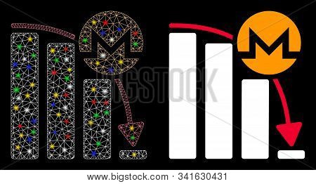 Glowing Mesh Monero Epic Fail Chart Icon With Sparkle Effect. Abstract Illuminated Model Of Monero E