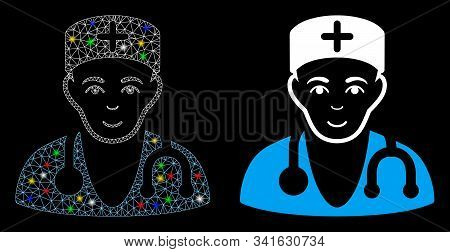 Glossy Mesh Physician Icon With Sparkle Effect. Abstract Illuminated Model Of Physician. Shiny Wire