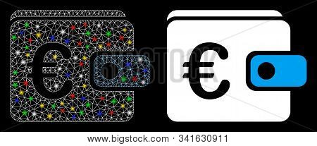 Glowing Mesh Euro Purse Icon With Lightspot Effect. Abstract Illuminated Model Of Euro Purse. Shiny