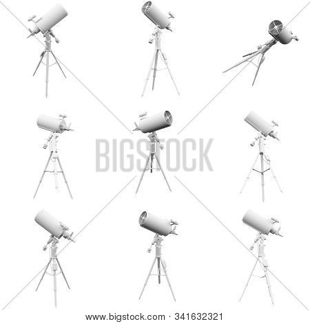Telescope Isolated On The White Background 3d Rendering