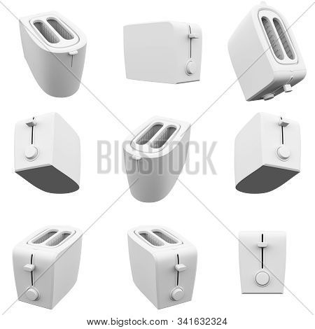 Toaster Isolated On The White Background  3d Rendering