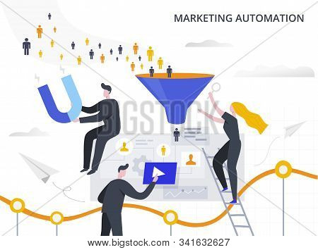 Marketing Automation And Lead Generation Flat Vector Illustration. The Process Of Attracting Potenti