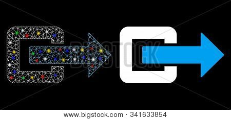 Glossy Mesh Exit Direction Icon With Sparkle Effect. Abstract Illuminated Model Of Exit Direction. S