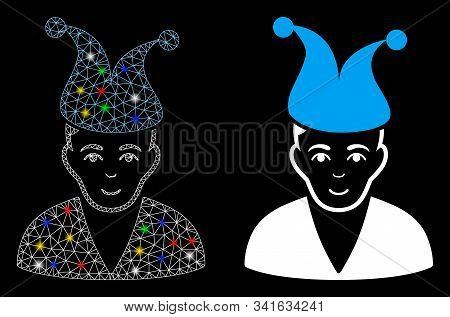 Glowing Mesh Clown Icon With Lightspot Effect. Abstract Illuminated Model Of Clown. Shiny Wire Frame