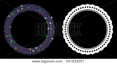 Glowing Mesh Dotted Rosette Circular Frame Icon With Glare Effect. Abstract Illuminated Model Of Dot