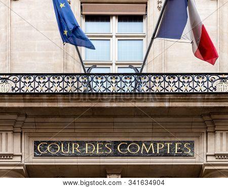 Paris, France - October 13 2019: Cour Des Comptes -court Of Audit- On Rue Cambon In Paris. It Is A F