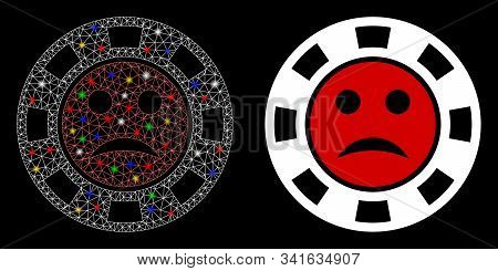 Glowing Mesh Pity Casino Chip Icon With Sparkle Effect. Abstract Illuminated Model Of Pity Casino Ch