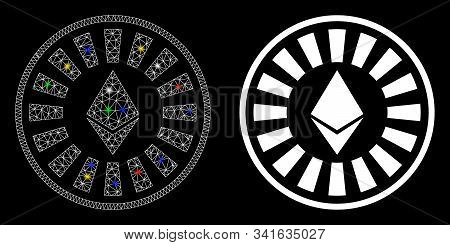 Flare Mesh Ethereum Casino Roulette Icon With Glow Effect. Abstract Illuminated Model Of Ethereum Ca