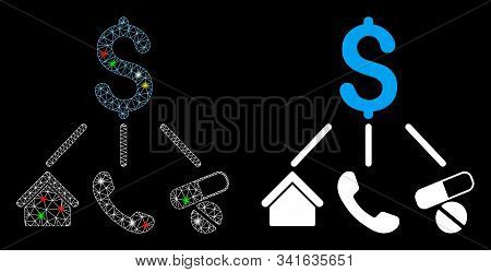 Glossy Mesh Life Expenses Icon With Glow Effect. Abstract Illuminated Model Of Life Expenses. Shiny