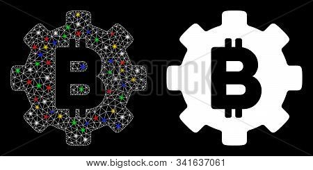 Glowing Mesh Bitcoin Cog Wheel Icon With Glare Effect. Abstract Illuminated Model Of Bitcoin Cog Whe