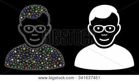 Glowing Mesh Pensioner Icon With Lightspot Effect. Abstract Illuminated Model Of Pensioner. Shiny Wi