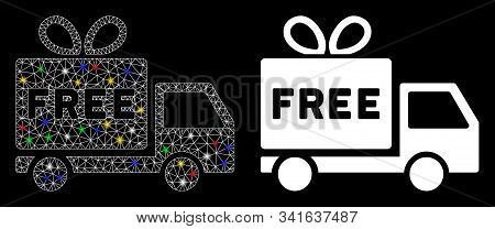 Bright Mesh Free Shipment Icon With Glare Effect. Abstract Illuminated Model Of Free Shipment. Shiny