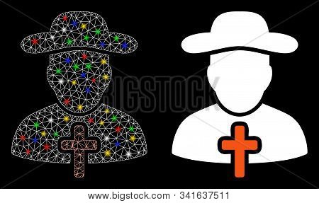 Glossy Mesh Cleric Icon With Glitter Effect. Abstract Illuminated Model Of Cleric. Shiny Wire Frame