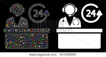 Glowing Mesh Hospital Reception Desk Icon With Sparkle Effect. Abstract Illuminated Model Of Hospita