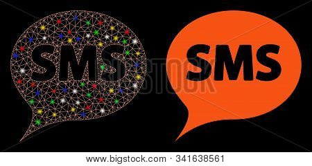 Glowing Mesh Sms Icon With Lightspot Effect. Abstract Illuminated Model Of Sms. Shiny Wire Frame Pol