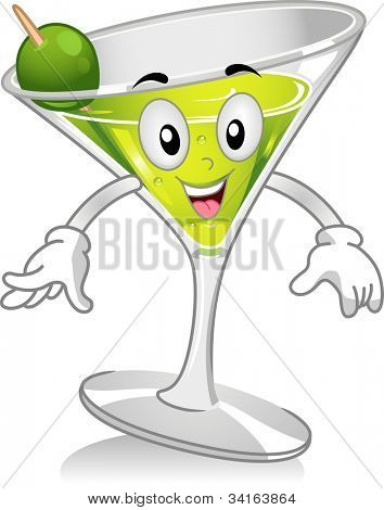 Mascot Illustration Featuring a Glass of Martini