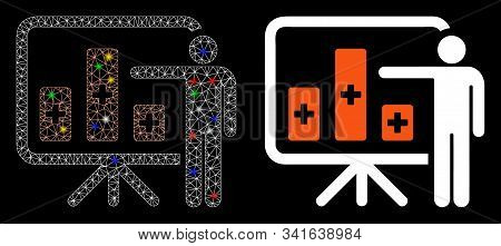 Glowing Mesh Medical Public Report Icon With Glare Effect. Abstract Illuminated Model Of Medical Pub