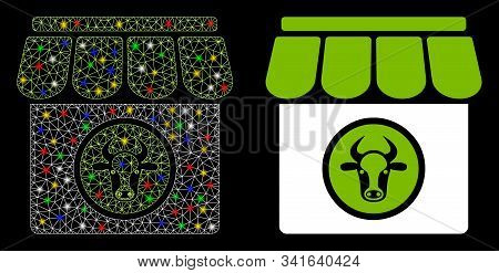 Flare Mesh Livestock Farm Icon With Sparkle Effect. Abstract Illuminated Model Of Livestock Farm. Sh