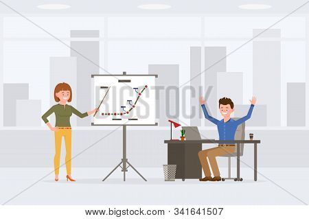 Young, Satisfied Office Boy And Girl Vector Illustration. Standing With Pointer At Report, Sitting H