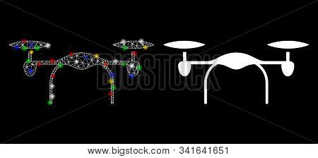 Bright Mesh Quadcopter Icon With Glow Effect. Abstract Illuminated Model Of Quadcopter. Shiny Wire F