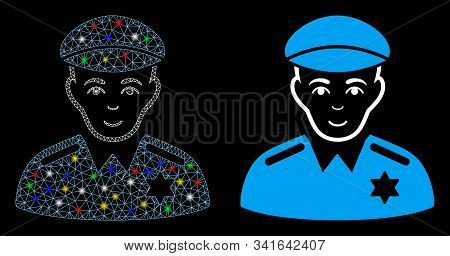 Bright Mesh Sheriff Icon With Glitter Effect. Abstract Illuminated Model Of Sheriff. Shiny Wire Carc