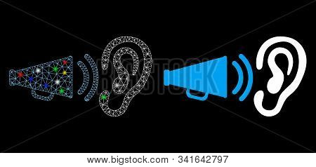 Glossy Mesh Listen Megaphone News Icon With Lightspot Effect. Abstract Illuminated Model Of Listen M