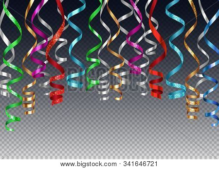Hanging Curled Ribbons Serpentine Background Realistic Composition On Transparent Background With Co