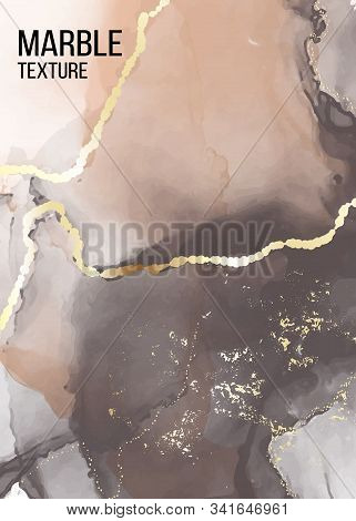Vector Contrast Grey And Orange Marble Poster, Pastel Alcohol Ink Greeting Card, Inking Website Bann