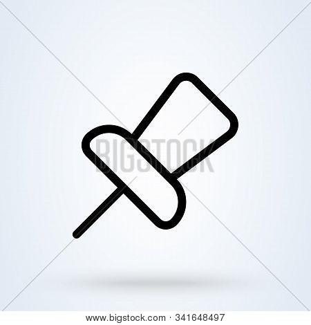 Pushpin Line Simple Vector Modern Icon Design Illustration.