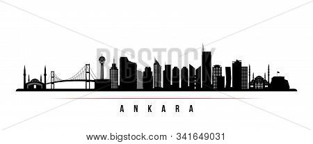 Ankara Skyline Horizontal Banner. Black And White Silhouette Of Ankara, Turkey. Vector Template For