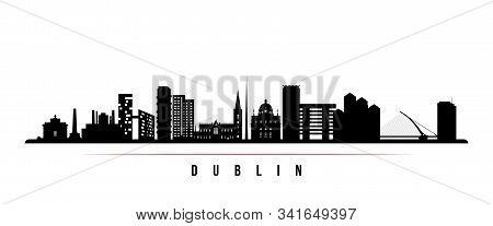 Dublin Skyline Horizontal Banner. Black And White Silhouette Of Dublin, Ireland. Vector Template For