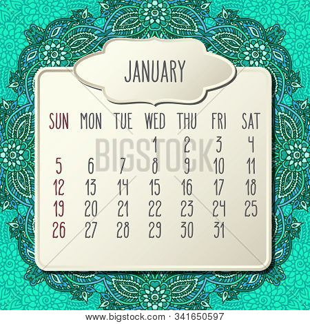 January Year 2020 Vector Monthly Calendar Over Doodle Ornate Hand Drawn Green Floral Background, Wee