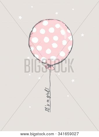 Cute Baby Shower Vector Illustration. Round Shape Pink Balloon With White Big Dots. Flying Dotted Pi
