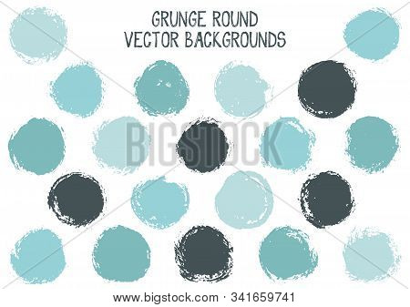 Vector Grunge Circles Isolated. Dry Post Stamp Texture Circle Scratched Label Backgrounds. Circular