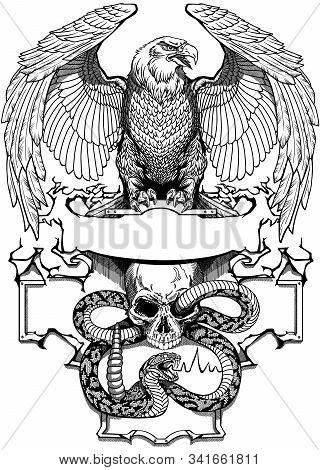 Eagle Sitting On The Human Skull Wrapped With Snake. Angry Dangerous Rattlesnake. Logo, Banner, Embl