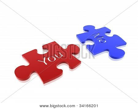 Couple Of Puzzle Isolated On White Background